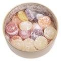 Caramelos mezclados de la fruta en tarro del estaño. Fotos de archivo libres de regalías