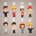 Caratteri di professioni con le icone Fotografia Stock Libera da Diritti