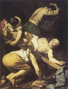 Caravaggio painting martyrdom of saint peter work in Stock Photography