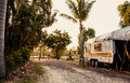 Caravan in a camping Royalty Free Stock Photo