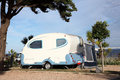 Caravan on a camping site Stock Photo