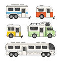 Caravan Camping Trailer Set on White Background. Vector