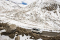 Caravan road trip at chang la pass third highest motorable road in the world ladakh india september Royalty Free Stock Photos