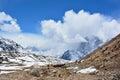 Caravan of yaks on the way to Gorak Shep, Nepal. Beautiful Himal Royalty Free Stock Photo