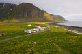 Caravans on lofoten islands in norway popular spot for watching midnight sun Royalty Free Stock Photography
