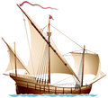Caravel a sailing ship age of discovery vector illustration Stock Photography
