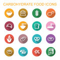 Carbohydrate food long shadow icons flat vector symbols Stock Photo