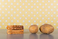 Carbohydrates in bread and potatoes full of on the table Royalty Free Stock Photo