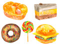 Carbohydrates watercolor set of isolated bread and sweets Royalty Free Stock Photo