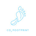 Carbon footprint icon with linear footprint leaves icon