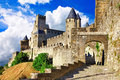 Carcassonne most biggest forteress medieval castles of france in europe Stock Image