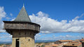 Carcassonne tower defensive languedoc roussillon france Stock Images