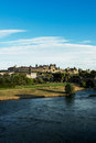 Carcassonne view of fortress france languedoc river aude and old bridge Royalty Free Stock Image