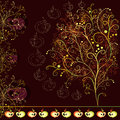 Card with abstract stylized tree ornaments and apples on dark burgundy background Royalty Free Stock Photography