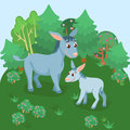 Card with adult and young donkey in natural background Royalty Free Stock Photo