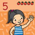 Girl showing five by hand. Counting education card Royalty Free Stock Photo