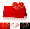 Card with asymmetric ornate heart Stock Photo