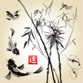 Card with bamboo in the bird and fish Royalty Free Stock Photo
