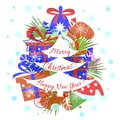 Card, banner, Merry Christmas, Happy New Year