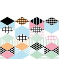 Card banner template Geometric elements Memphis Postmodern Retro fashion style 80-90s. asymmetrical shapes Rhombus triangle patter