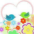Card with birds on red heart among flowers Royalty Free Stock Images