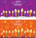 Card with birthday cake and candles Royalty Free Stock Photo