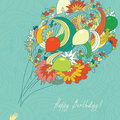 Card birthday greeting with a bouquet of balloons arrows and hearts Royalty Free Stock Images