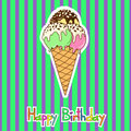 Card for birthday with ice cream colorful Stock Image