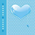 Card with blue heart Stock Photos