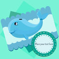 Card with a blue whale Royalty Free Stock Photos