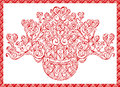 Card bouquet of hearts swirling decorative elements valentines day Royalty Free Stock Photos