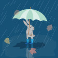 Card Bunny in rubber boots in the rain with umbrella, autumn Royalty Free Stock Photo