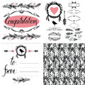 Card with calligraphic lettering to from pattern and details set Stock Photo