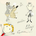 Card with cartoon style illustration Royalty Free Stock Image