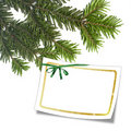 Card with christmas tree and white frame Stock Image
