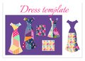 Card with collection of beautiful summer dresses and patchwork patterns Royalty Free Stock Photo