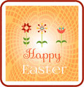 Card with colorful flowers and text Happy Easter