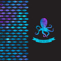 Card with colorful octopus and fishes greeting Stock Images