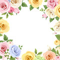 Card with colorful roses and lisianthus flowers. Vector eps-10. Royalty Free Stock Photo