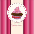Card with cup cake card illustration Stock Photo