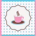 Card with cup vintage of coffee or tea Royalty Free Stock Photo