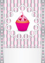 Card with cupcake and hearts Royalty Free Stock Images