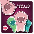 Card with cute cartoon monster Royalty Free Stock Images