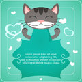Card with cute cat template Stock Images