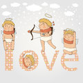 Card for with cute cupids valentine day Stock Photography
