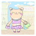 Card with cute fashion kitty. Royalty Free Stock Photos