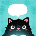 Card with cute fat cat vector illustration Royalty Free Stock Photo