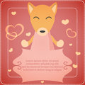 Card with cute fox template Royalty Free Stock Photography