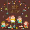 Card with cute kids, sweets and christmas presents Royalty Free Stock Photo