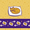 Card with cute little cat dreaming of fish Royalty Free Stock Image